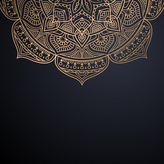 Priorità bassa di disegno della mandala ornamentale di lusso nel vettore di colore dell'oro Vettore Premium