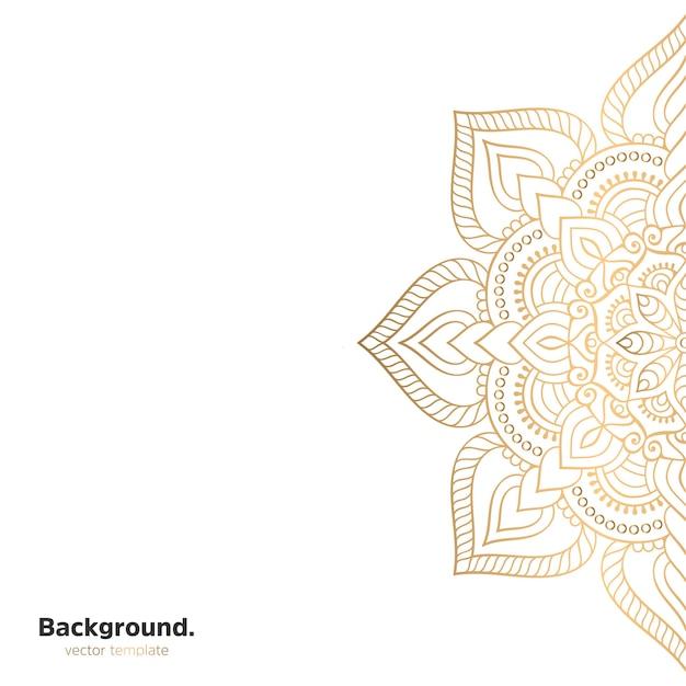 Sfondo di design mandala ornamentale di lusso in colore oro Vettore Premium