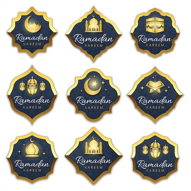 Collezione di etichette di lusso ramadan Vettore Premium