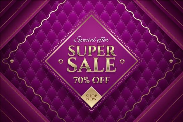 Sfondo di vendita di lusso con elementi dorati Vettore Premium
