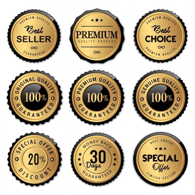 Distintivi e etichette con sigillo di lusso di alta qualità Vettore Premium