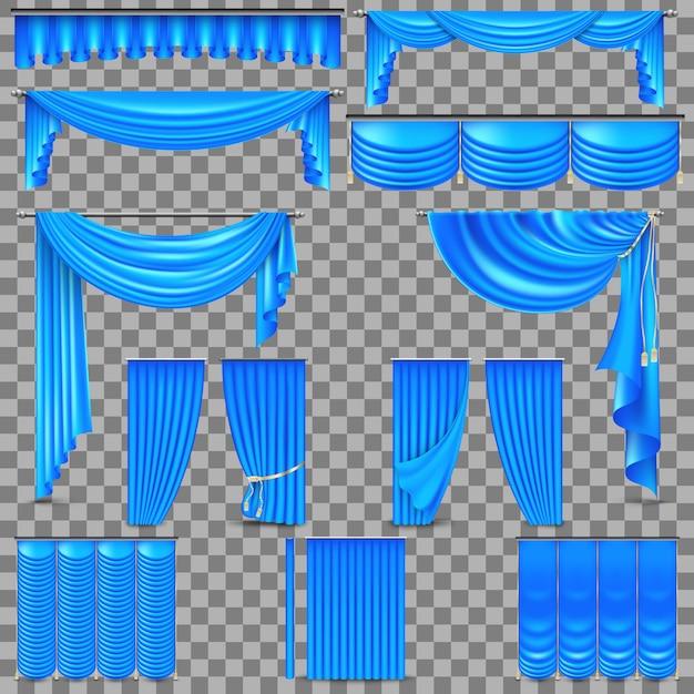 Set di lusso di tende di seta di velluto dorato. Vettore Premium