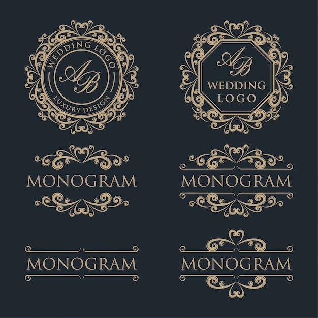 Design di lusso modello logo Vettore Premium