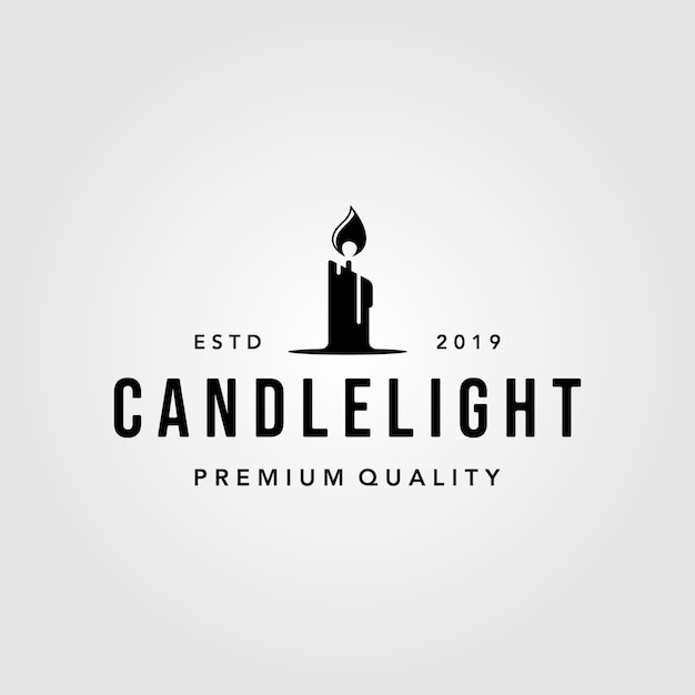 Fiamma d'annata di lusso logo design illustration della luce della candela Vettore Premium