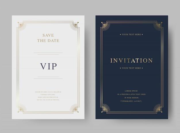 Modello di carta di invito d'oro vintage di lusso Vettore Premium