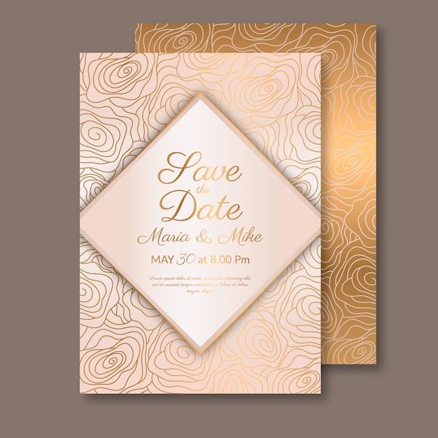 Modello di invito di nozze di lusso Vettore Premium