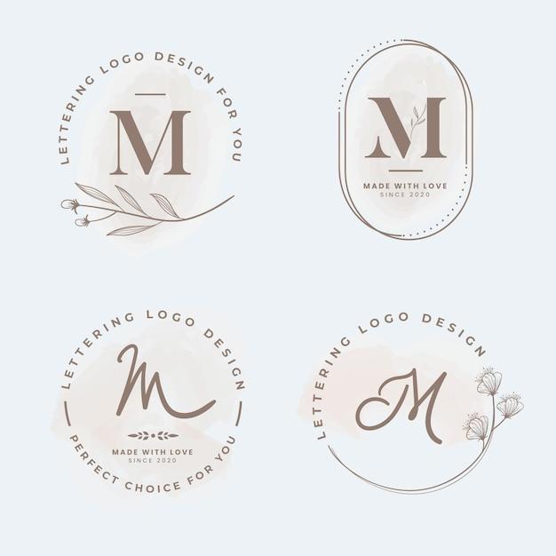 Collezione logo m. Vettore Premium