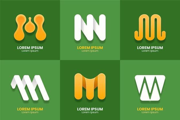 Collezione di design logo m. Vettore Premium