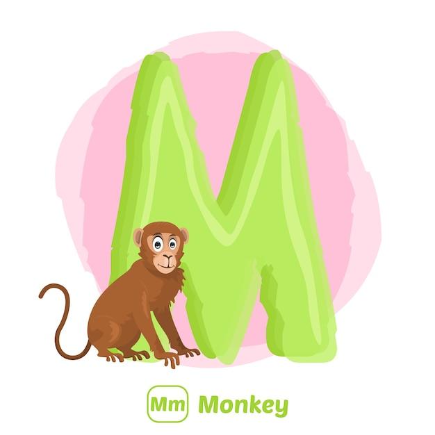 M per scimmia. stile di disegno illustrazione premium di alfabeto animale per l'istruzione Vettore Premium