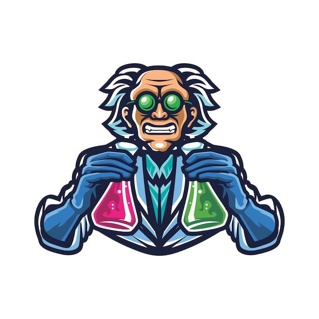 Logo di mad scientist esport Vettore Premium