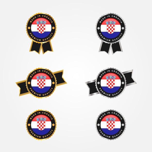 Realizzato in croazia con design modello distintivo emblema illustarion Vettore Premium