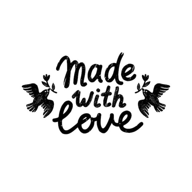 Realizzato con icona o logo di amore. icona di timbro vintage con realizzato con scritte d'amore e uccelli. Vettore Premium