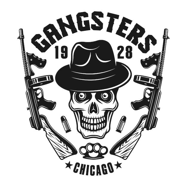 Emblema della mafia con teschio di gangster in cappello e pistole Vettore Premium