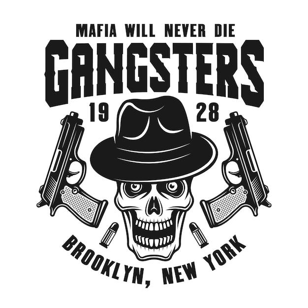 Emblema della mafia con teschio in cappello e due pistole Vettore Premium