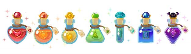Set di bottiglie magiche. Vettore Premium