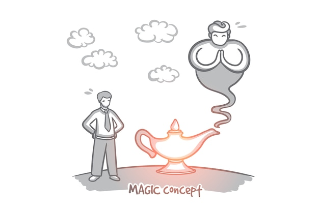 Concetto magico. lampada dei desideri disegnata a mano. genie che esce dall'illustrazione isolata bottiglia. Vettore Premium