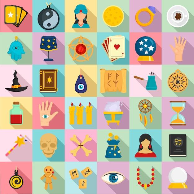 Set di icone di indovino magico. insieme piano delle icone magiche dell'indovino Vettore Premium