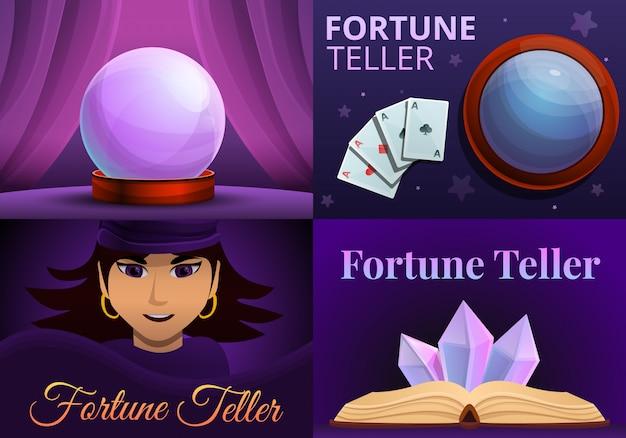 Insieme magico dell'illustrazione dell'indovino. illustrazione del fumetto dell'indovino magico Vettore Premium