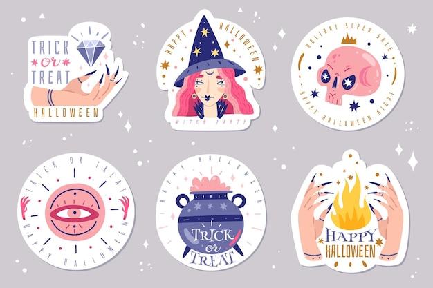 Icone magiche doodles emblemi Vettore Premium