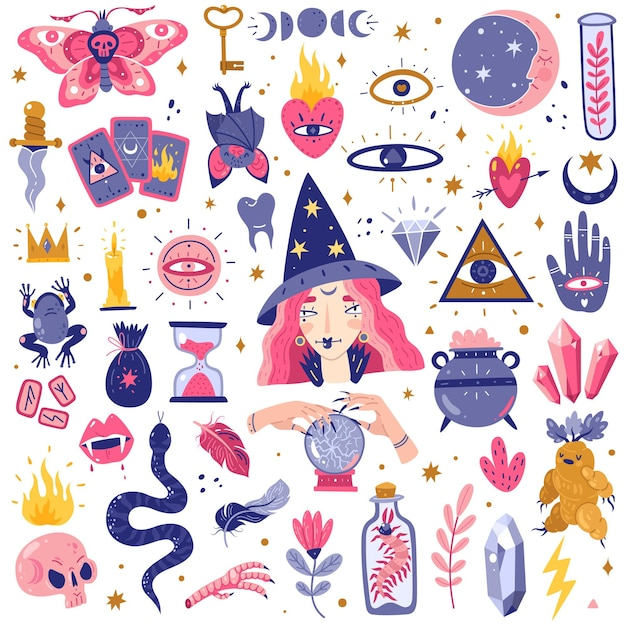 Icone magiche doodles set illustrazione Vettore Premium
