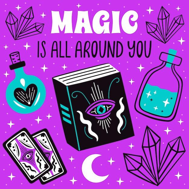 La magia è tutto intorno a te poster con simboli mistici di streghe, luna, set di cristalli. Vettore Premium