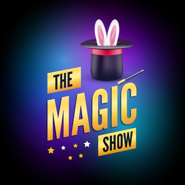 Modello di progettazione del poster magico. concetto di logo del mago con cappello, coniglio e bacchetta Vettore Premium