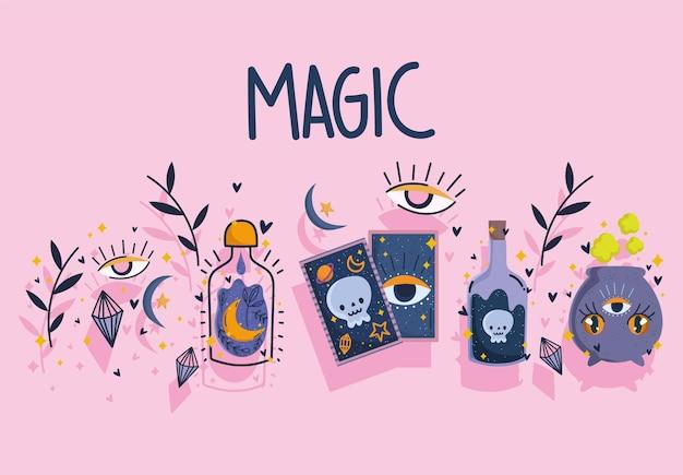 Magia carta dei tarocchi pozione incantesimo bottiglia calderone design Vettore Premium