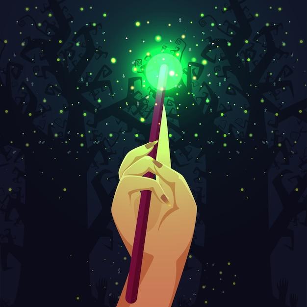 Bacchetta magica con scintillii magici sull'illustrazione blu del fondo dell'albero nudo Vettore Premium