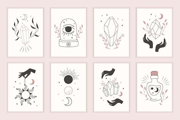 Simboli magici della strega. set di modelli mistici. disegnato a mano. carte con disegni esoterici. sagoma di mani, pianeti, stelle, fasi lunari e cristalli. Vettore Premium