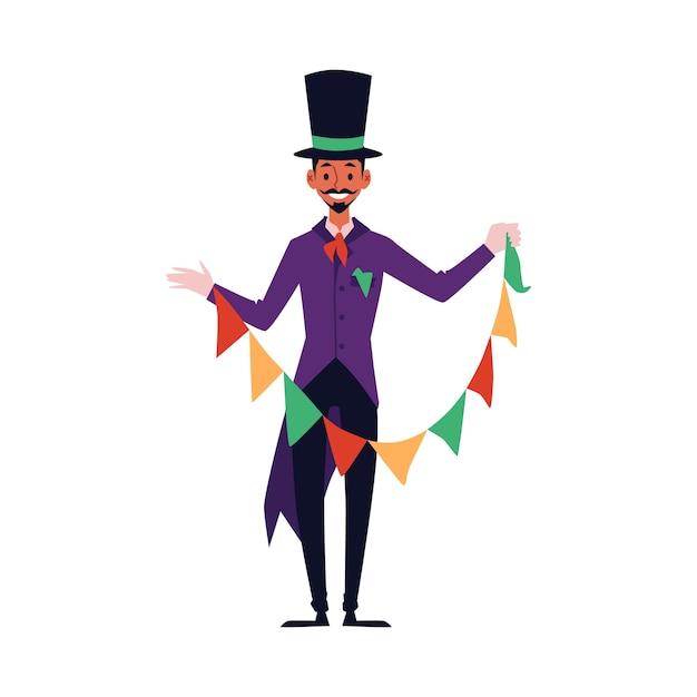 Uomo del mago in costume viola e cappello a cilindro che tiene ghirlanda di bandiera colorata per trucco magico - personaggio dei cartoni animati felice preformatura e sorridente, illustrazione Vettore Premium