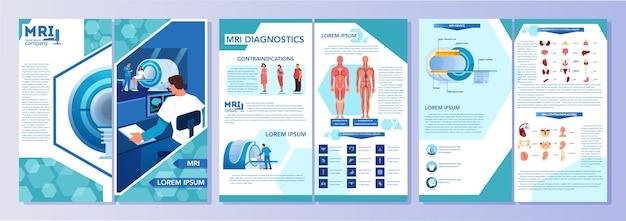 Brochure pubblicitaria per la risonanza magnetica. ricerca medica e diagnosi. scanner tomografico moderno. concetto di assistenza sanitaria. libretto o volantino mri con infografica. illustrazione Vettore Premium