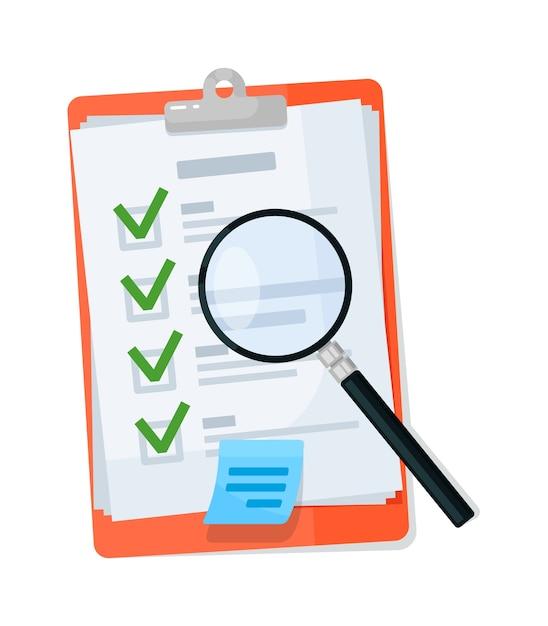 Lente d'ingrandimento sulla lavagna per appunti della lista di controllo isolata su bianco Vettore Premium