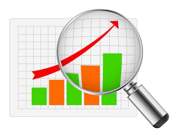 Lente d'ingrandimento con diagramma di affari Vettore Premium