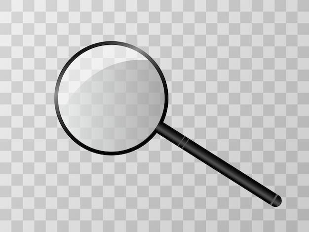 Lente d'ingrandimento su uno sfondo trasparente. Vettore Premium