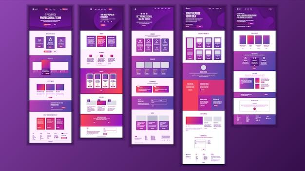 Progettazione della pagina web principale Vettore Premium