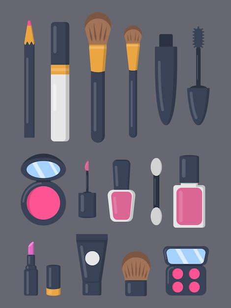Make up cosmetici set di icone in stile cartone animato. collezione di trucco moda rossetto e pomata. salone di bellezza e rivista cosmetica donna Vettore Premium