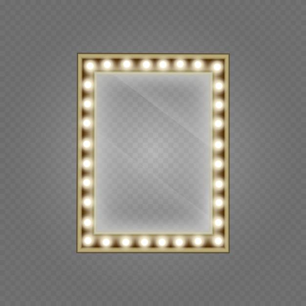 Specchio per il trucco isolato con luci dorate. specchio in cornice con luci trucco leggero per spogliatoio Vettore Premium