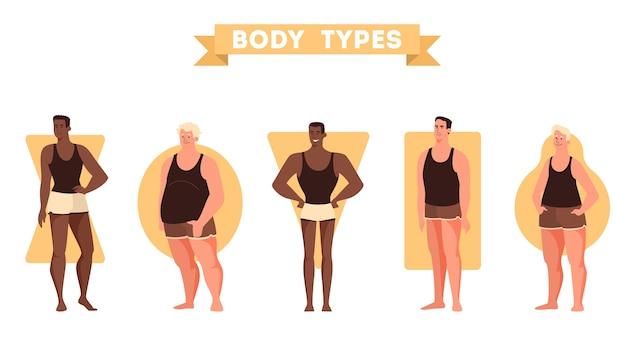 Set di forme del corpo maschile. figura di triangolo e rettangolo, pera e mela. anatomia umana. illustrazione in stile cartone animato Vettore Premium