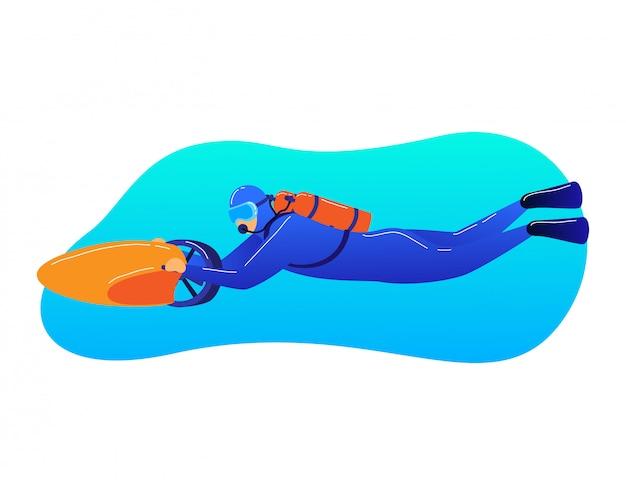 Area subacquea di viaggio dell'operatore subacqueo del personaggio maschile, fondo dell'oceano del movimento del meccanismo di trasporto dell'uomo isolato su bianco, illustrazione del fumetto. Vettore Premium
