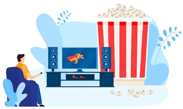 Carattere maschio che guarda cinema domestico, grande contenitore di popcorn, su bianco, illustrazione. l'uomo guarda lo schermo della tv. Vettore Premium