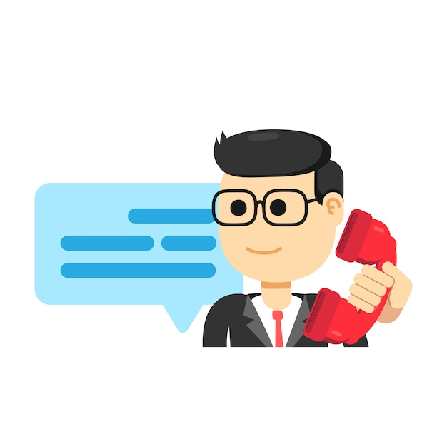 Agente maschio di servizi di assistenza al cliente, telefonante Vettore Premium