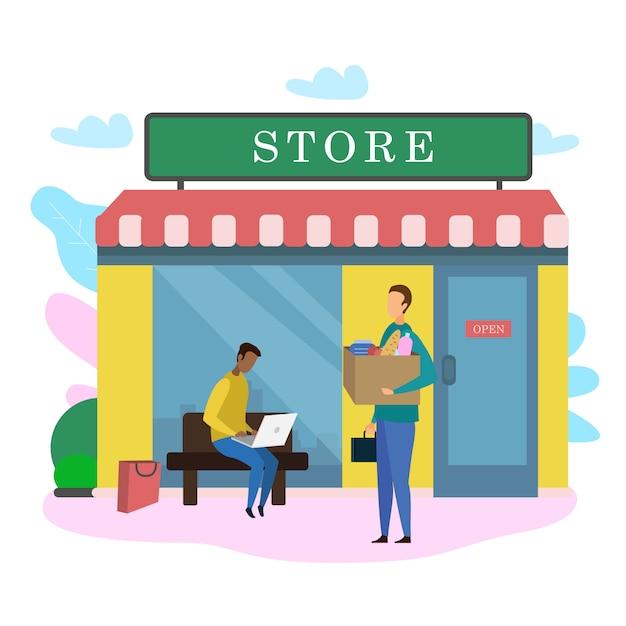 Cliente maschio con borsa per prodotti alimentari all'esterno del negozio Vettore Premium