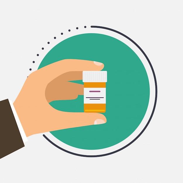Contenitore maschio della tenuta di medico con la cura in sue mani. compresse in mano. capsule nelle loro mani. Vettore Premium