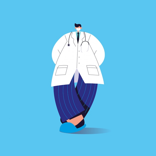 Medico maschio con maschera medica, personale medico Vettore Premium
