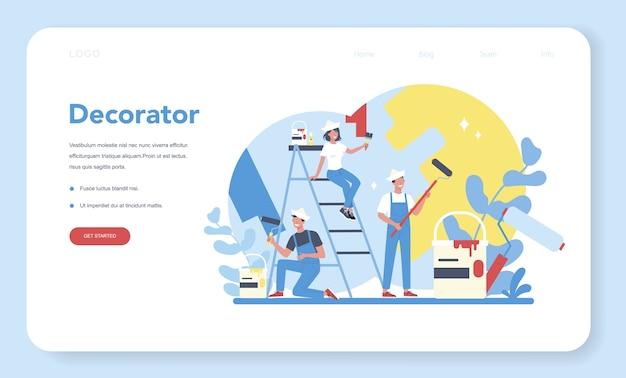Pittore decoratore maschio e femmina nell'uniforme dipinge il muro con il banner web o la pagina di destinazione del rullo di vernice Vettore Premium