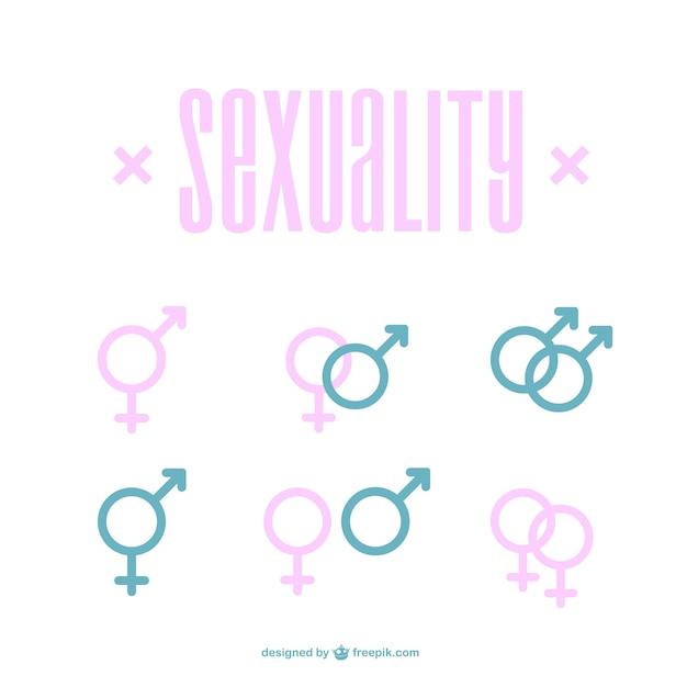 Male icone femminili Vettore Premium