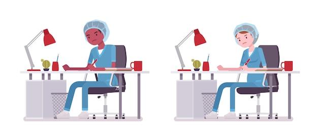 Infermiere maschio e femmina che fa lavoro di ufficio. giovani lavoratori in uniforme ospedaliera, stanchi ed esausti sul lavoro. concetto di medicina e assistenza sanitaria. stile cartoon illustrazione su sfondo bianco Vettore Premium