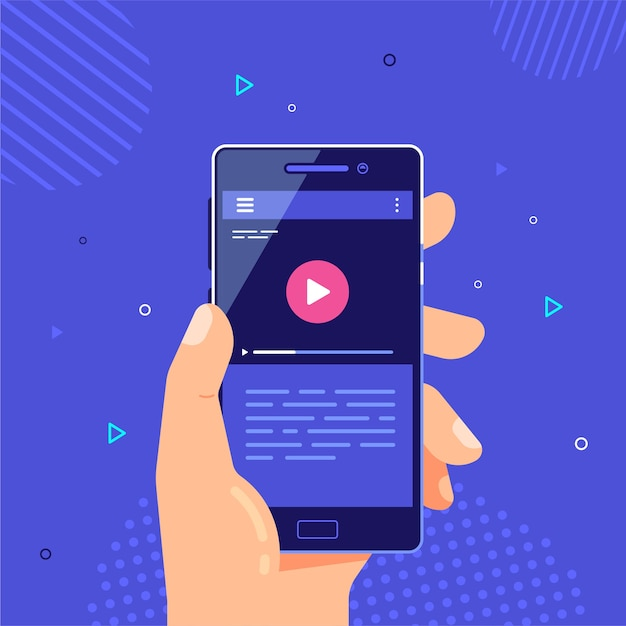 Mano maschio che tiene il telefono cellulare con lettore video sullo schermo. applicazione video mobile. streaming video sul telefono. Vettore Premium