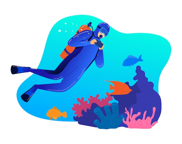 Nuoto subacqueo professionale maschio, immersione di occupazione del carattere dell'uomo isolata su bianco, illustrazione del fumetto. l'operatore subacqueo fa la vita dell'oceano della fotografia. Vettore Premium