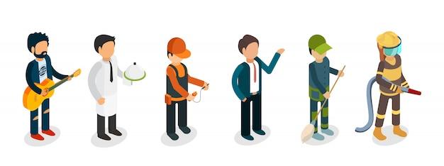 Professionisti maschii isolati su fondo bianco. musicista isometrico, vigile del fuoco, cameriere, elettricista, bidello personaggi Vettore Premium